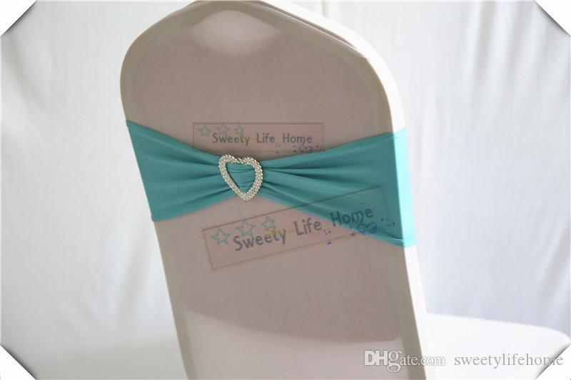 100pcs Turquoise color Chair Bands banquet Spandex Chair Sash Stretch Lycra chair bows with sillver Heart buckle