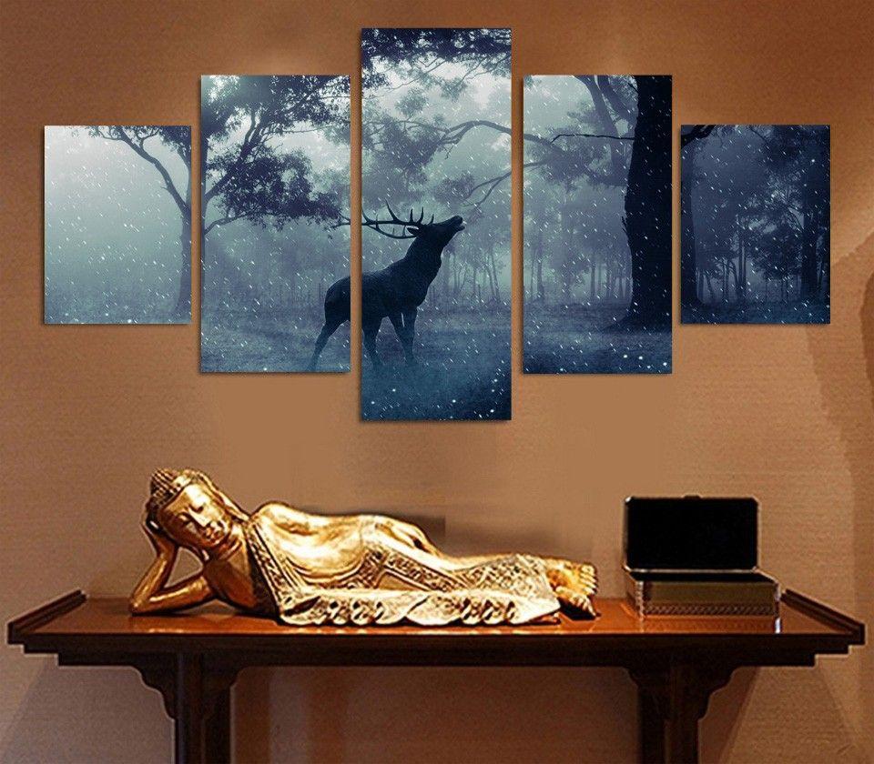 5 del pannello HD Stampato Neve animale dei cervi Foresta tela Stampa arredamento camera di poster Picture Tela Pittura Pittura moderna della parete