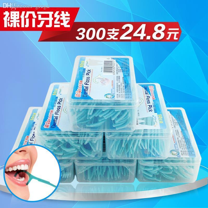 Toptan-Diş Güzellik Sağlık Oral Hijyen Diş Yüksek Gerilme Süper Fiş Çubuklar Diş Floss 50 adet / grup