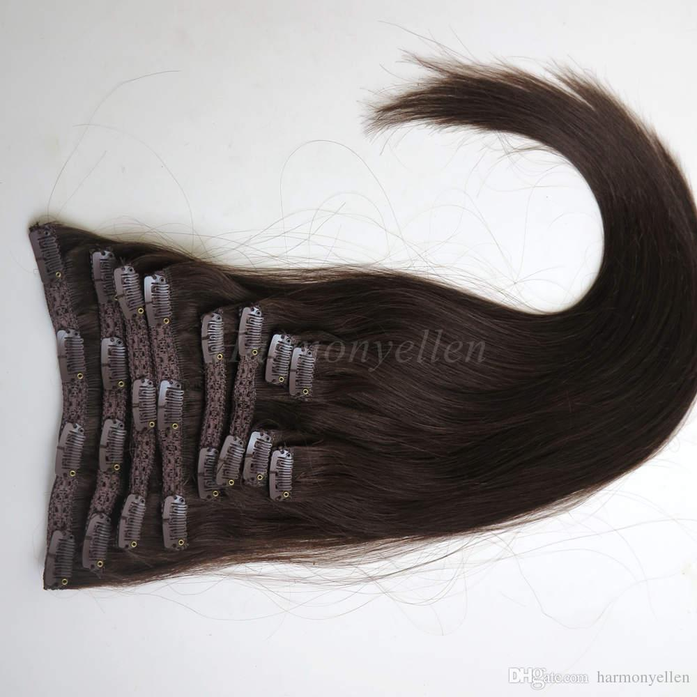 "1 set 20''-22"" 10pcs set Clip-in hair Human Hair Extensions 160G Darkest Brown"