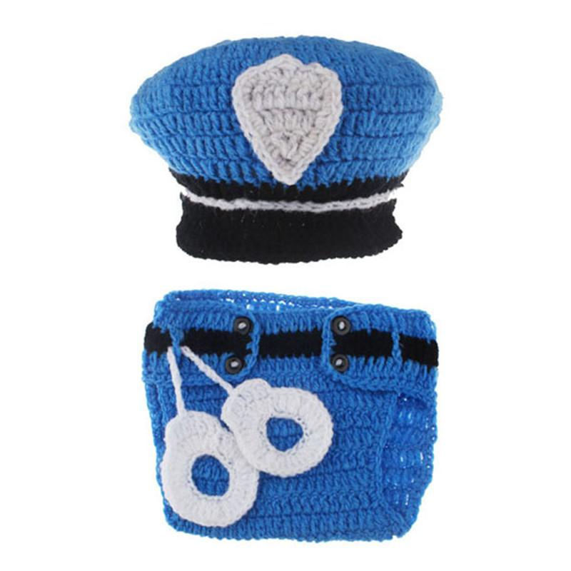 2016New Born Photography Props Baby Boys Cotton Thread PoliceMan Crochet Knitted Costume Outfit Winter Hat OnThe Boy New Arrival (4)