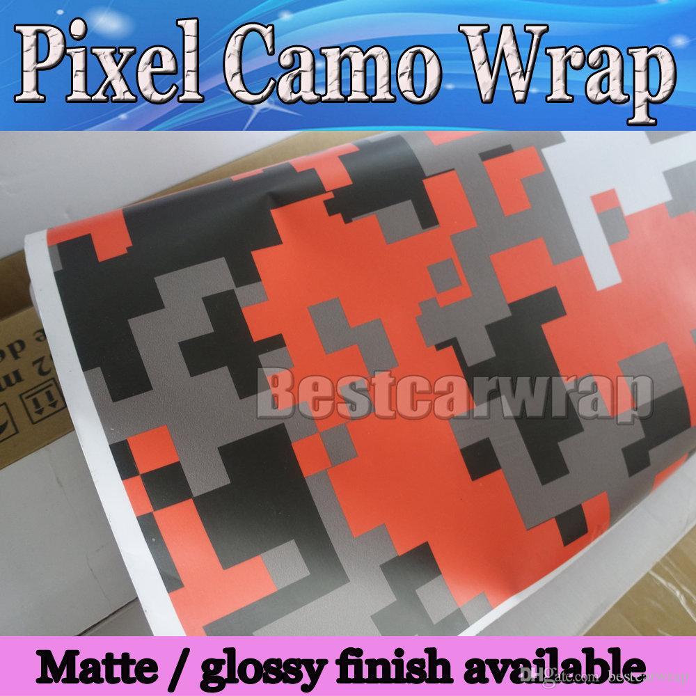 Roxo Vermelho / branco / Verde Pixel Camo Vinil Carro Envoltório Filme Com Rlease Ar Digital Camuflagem caminhão wraps cobre tamanho 1.52x30 m / Roll