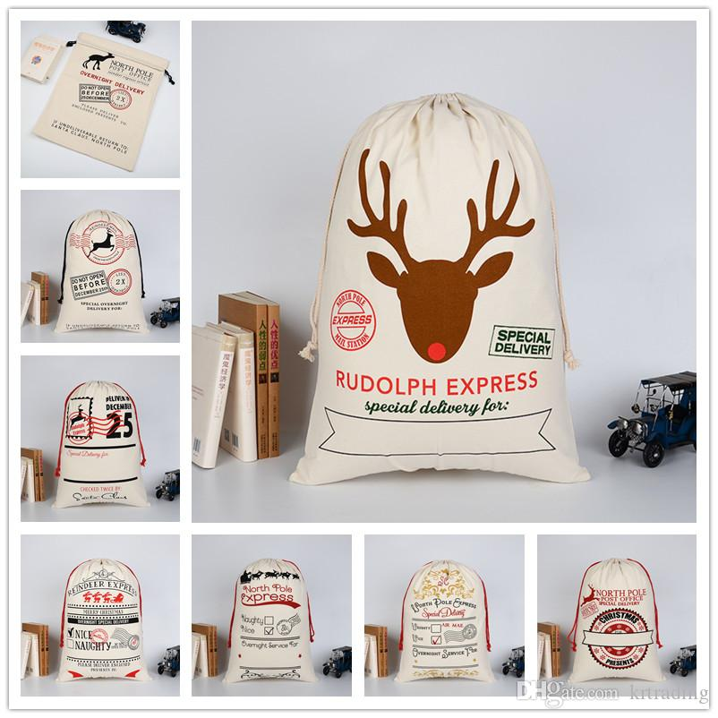 15colors Christmas printing cotton canvas drawstring bags 50x70cm kids gift bags Xmas party sale promotion packing bag EMS free shipping