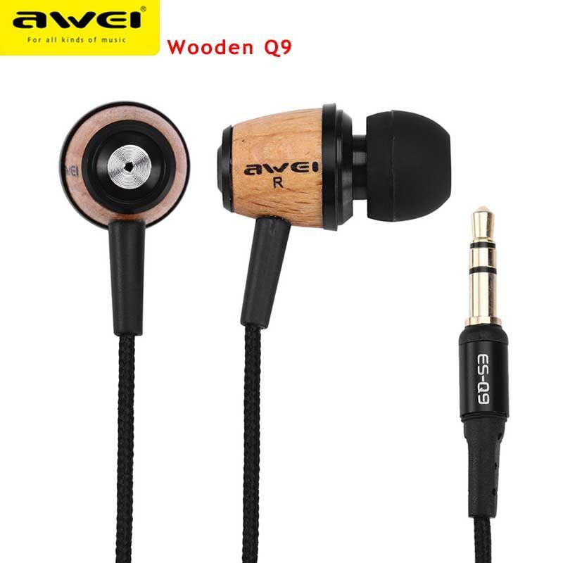 Original AWEI Q9 Fashion Earphone Super Bass Wooden 3.5mm in ear Earphone For iPhone 6 /MP3/ MP4 Music Player Stereo Earphone