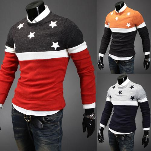 Fashion casual sweaters Design pentacle round neck sweater embroidered men's winter tide men sweater