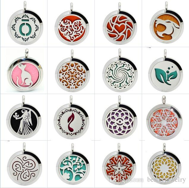 25mm Round 316 Stainless Steel Premium Aromatherapy Essential Oil Purfume Diffuser Magnet Lockets With Free chain and Pads