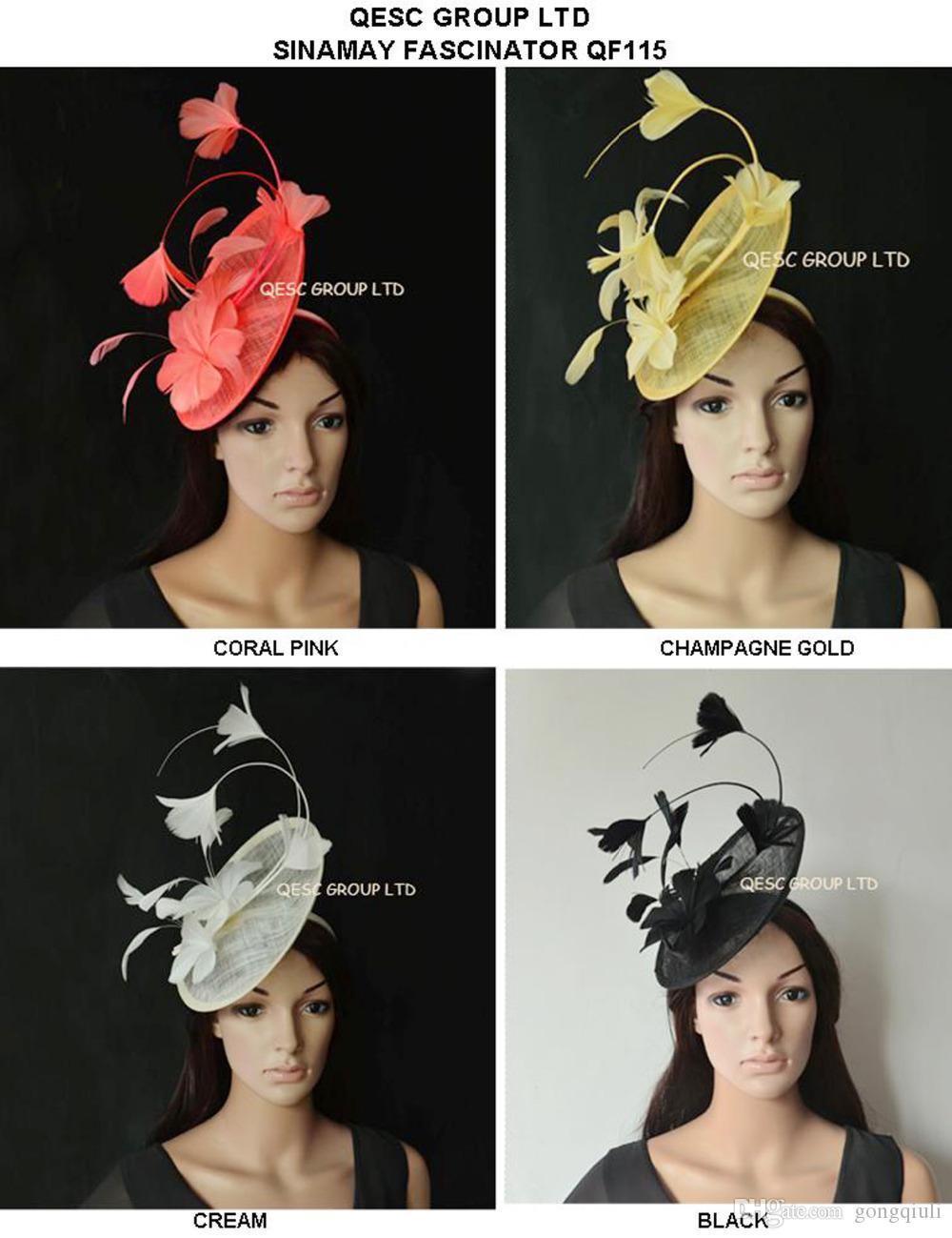 Nuovo arrivo. sinamay cappello fascinator della piuma per la Melbourne Cup, Wedding.Kentucky derby, Races.champagne gole, avorio, nero, corallo.