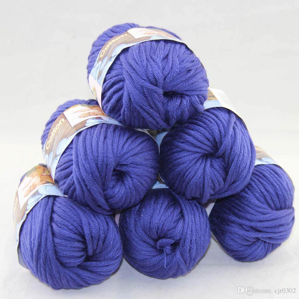Много 6 BallsX50g специального толстая камвольно 100% хлопок вязание пряжа королевский синий 2224