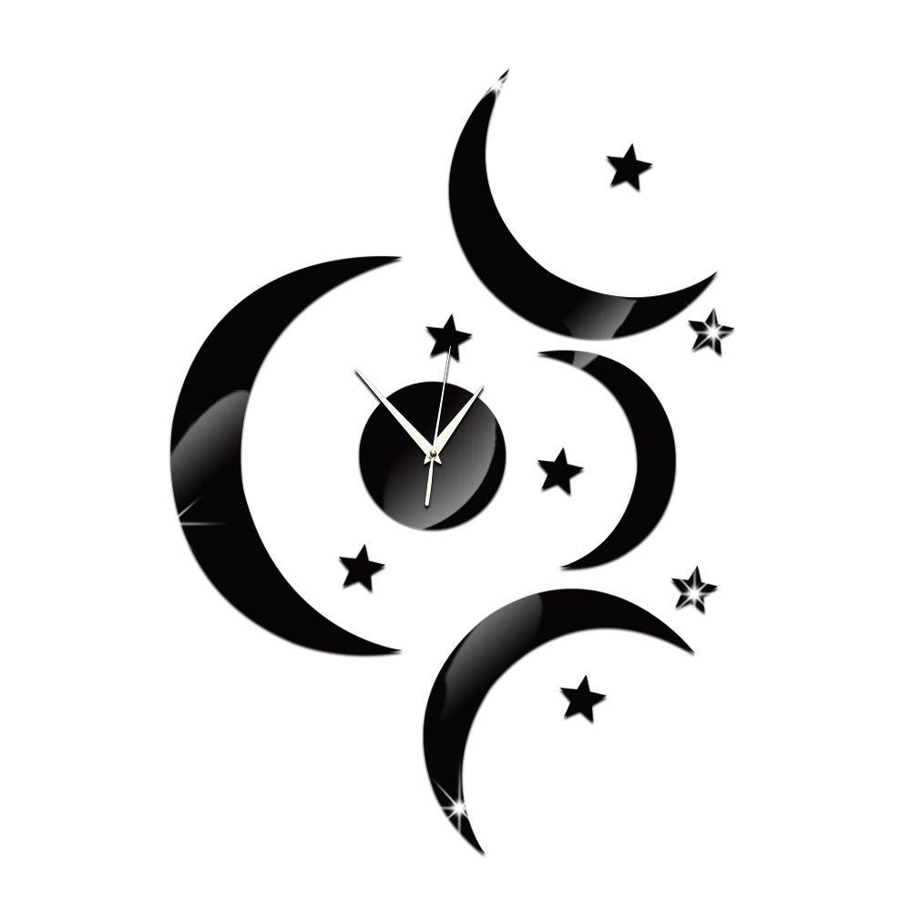 2016 orologi da parete nuovo arrivo orologio al quarzo 3 grandi lune orologio moderno design di lusso specchio 3d orologio di cristallo acrilico TY1934
