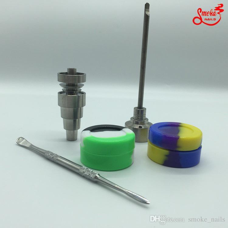 5PCS A Whole 10/14/19 milímetros Domeless Gr2 Titanium prego Carb Cap Dabber Slicone Jar para Bong vidro reciclador bong frete grátis