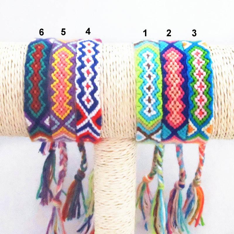 우정 팔찌 수제 짠 로프 문자열 Hippy Boho 자수 면화 우정 팔찌 남성 여성용 Hot Selling Summer Bracelet