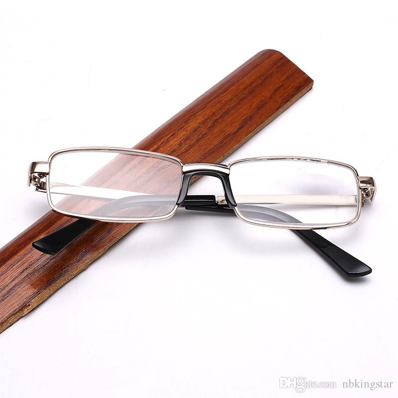 10Pcs/Lot New Women Men Metal Square Golden Reading Glasses With Nose Pad Crystal Glass Spectacles Diopter +1.00-+4.00 Free Shipping