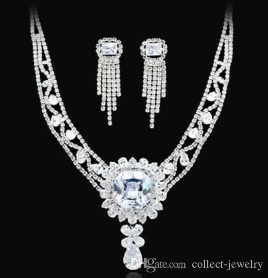 maravillosa novia de la boda de cristal de diamante blanco set pendientes de collar (spwhy) h