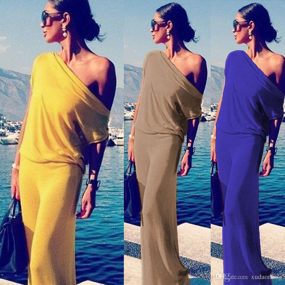 2016 Frivolous Solid Color Sexy Wryshoulder Irregular Suit-dress European Fashion Sandy Beach Evening Dress Longuette Dresses For Womens