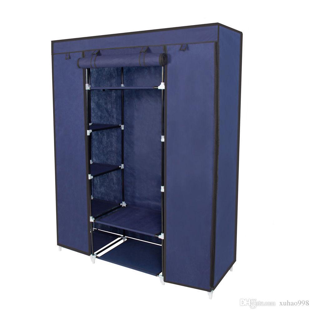 "67"" Portable Closet Storage Organizer Wardrobe Clothes Rack With Shelves"