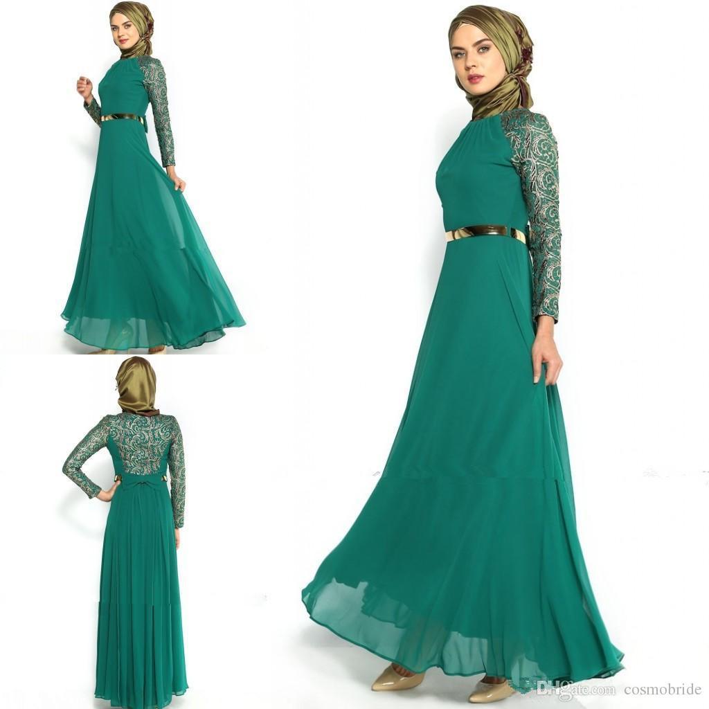 Green Muslim Dresses Evening Wear Jewel Neck Bowknot Sash Arabic ...