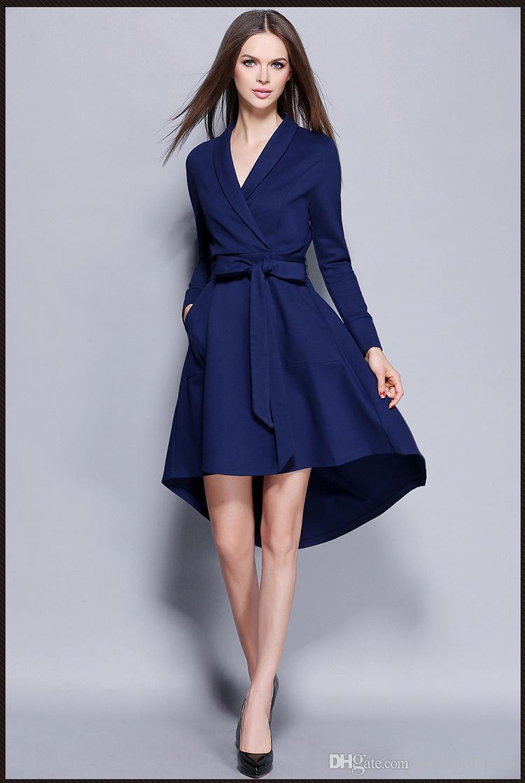 Long Sleeve Women Dress deep V collar Sexy Irregular Dresses Plus Size Fashion Blue Dovetail Dress Round Neck Dress