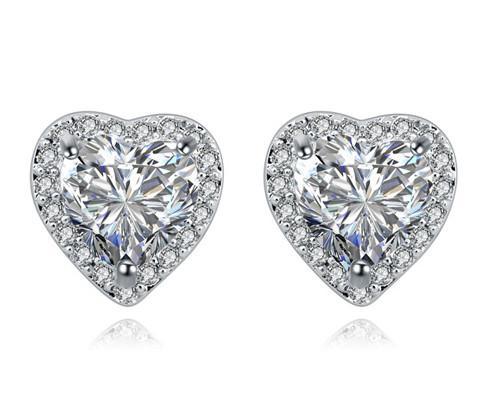 Joyería Pendientes estilo tachona los pendientes de las mujeres de moda exquisita alta calidad de lujo circón platinados corazón