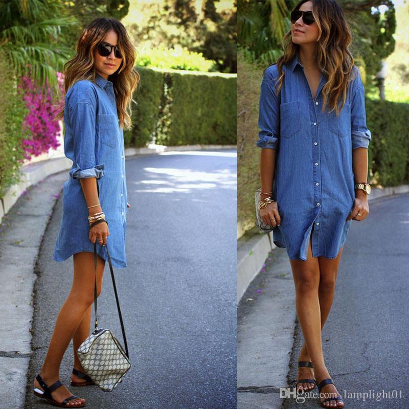 Autumn Winter Jean Dresses Plus Size Women Long Sleeved Denim Dress