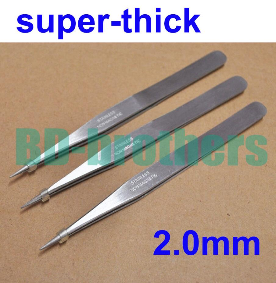2.0mm Thick Stainless Steel Nonmagnetic Tweezers 13cm Length Good Quality for Phone Repair Eyelash Tools Wholesale 100pcs