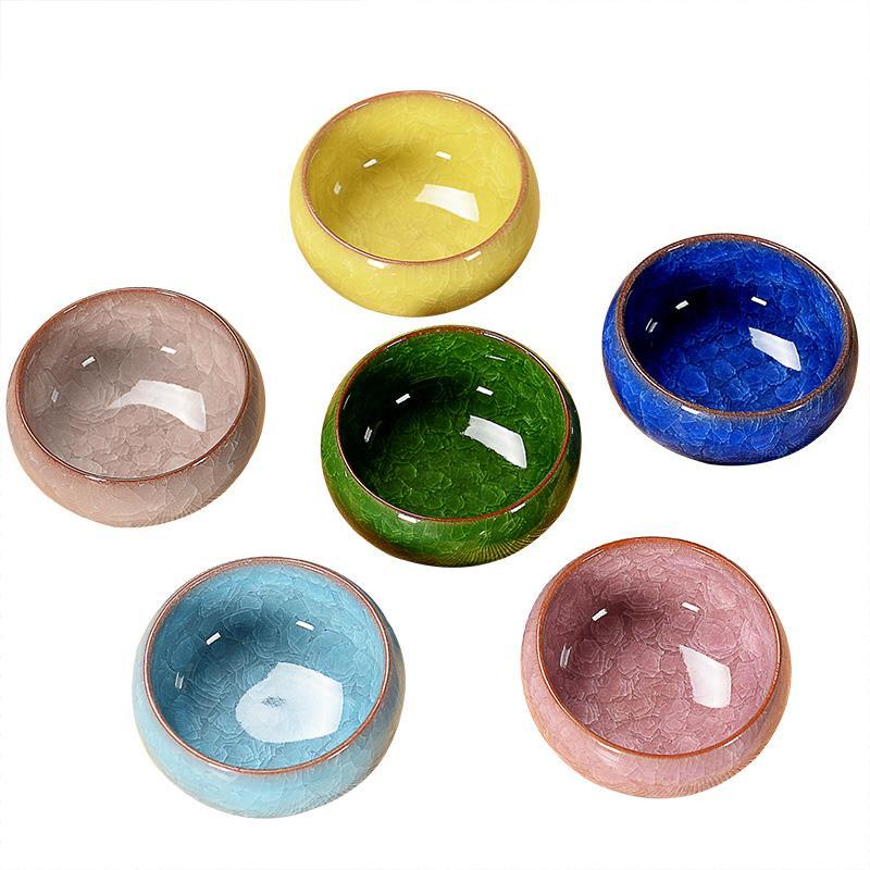 6 sztuk / partia kung fu herbata ceramiczna filiżanka całego pakietu binlie emalia fioletowy wzór sześciorolowy Chiny chiński styl japoński mały kubek