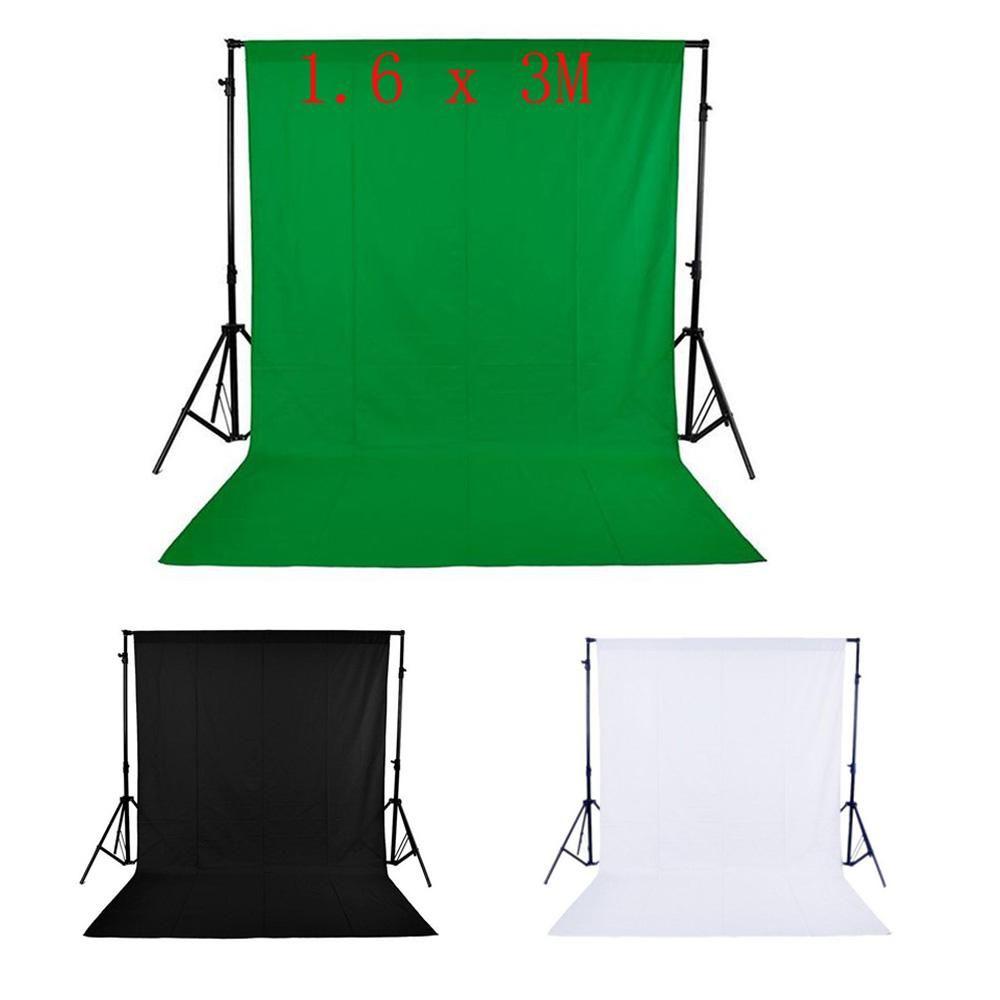 Fondo de pantalla de fondo de pantalla de estudio de fotografía no tejida 1.6 x 3M / 5 x 10FT negro / blanco / verde 3 colores para Chposing D2204