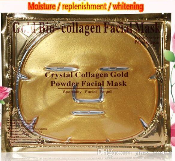 Or Bio Collagène Masque Facial Masque Visage Cristal Poudre Or Collagène Masque Facial Feuilles Hydratant Anti-âge Beauté Produits De Soins de La Peau