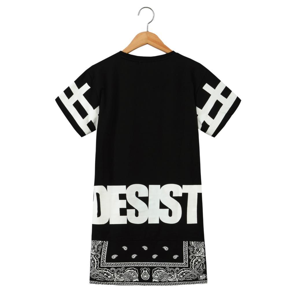 2016 T gömlek Erkekler Streetwear En Durdurma Desist yan Fermuar Lengthen Bandana T gömlek Erkek Kadın Kısa kollu T-shirt Elbise Kısa Tee