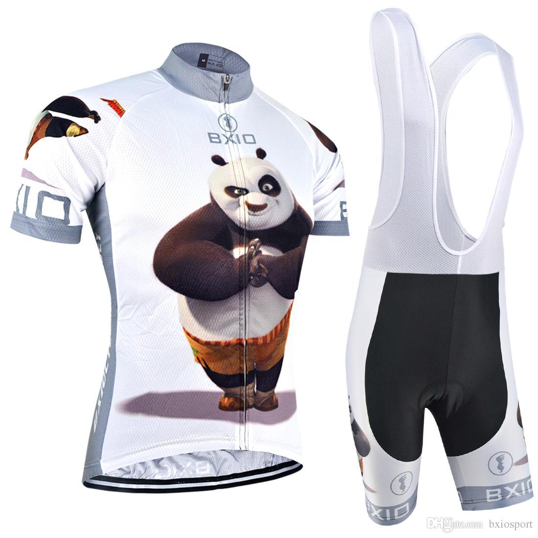 BXIO marca hombre ciclismo jerseys conjunto Panda Hero patrón ciclismo ropa manga corta cremallera bicicleta Jersey Maillot De Ciclismo BX-081