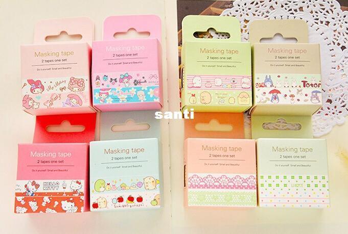 New Arrive 2 pcs/lot Sweet Fresh Style Cartoon Masking Tape Decorative Washi Adhesive Tape DIY Sticker Label