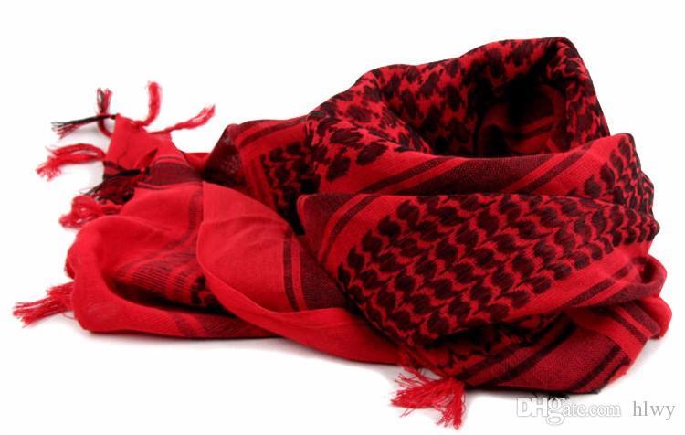 Wholesale-100% Baumwolle Araber Keffiyeh Shemagh Schal Militärische Taktische Schals verdickt Hijab Square Windproof Bandanas
