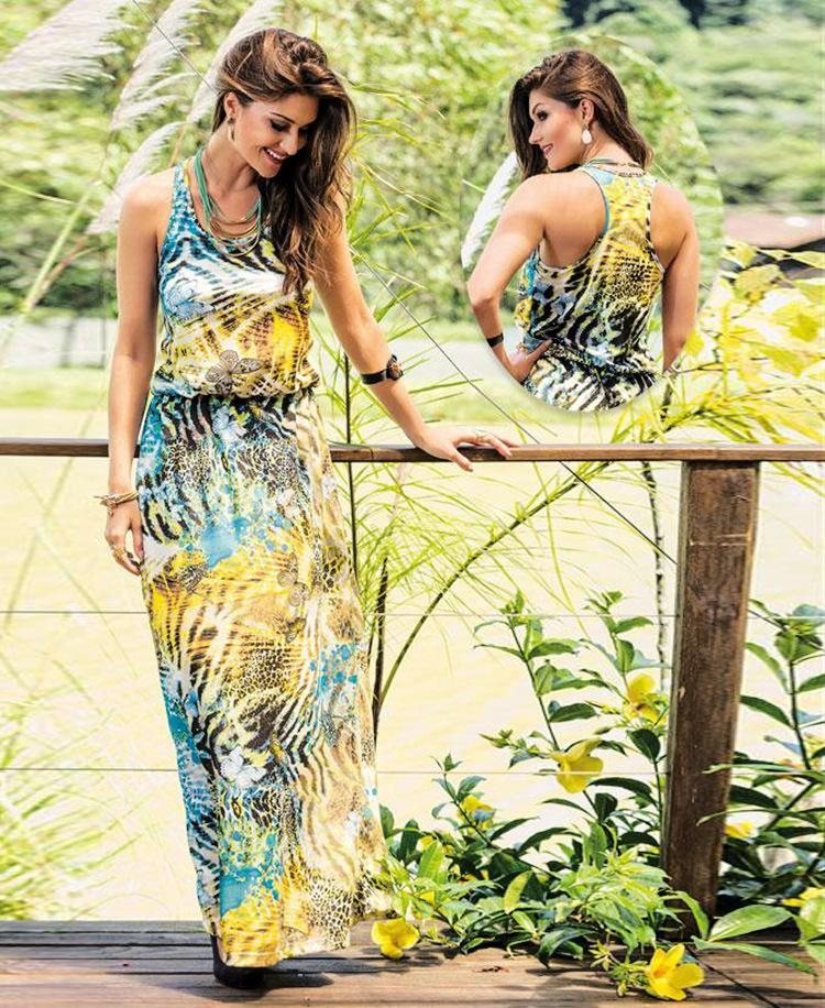 Summer Butterfly Printing Beach Maxi Dress Long Sleeves Fashions Casual Denim For Womens 2016 Clothing Ladies Bodycon Dresses