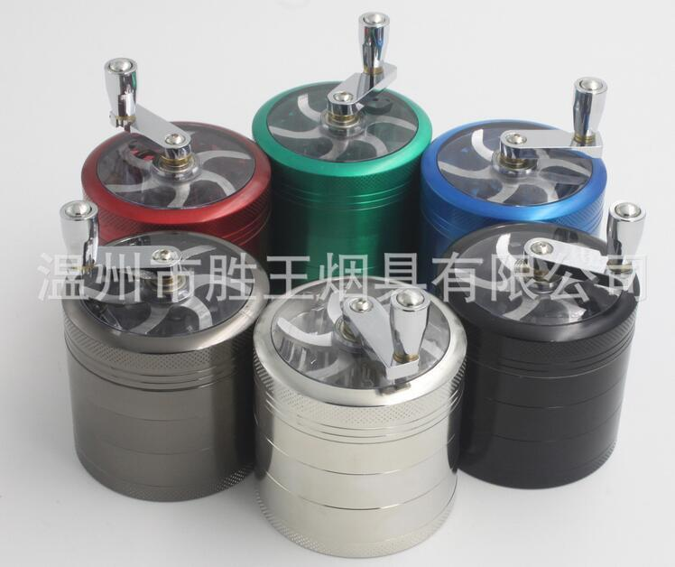 Broyeur à tabac DHL 55 * 63mm 5 couches en alliage de zinc manivelle à main manivelle à tabac broyeurs en métal pour herbes herbes meuleuses pour tabac DHL
