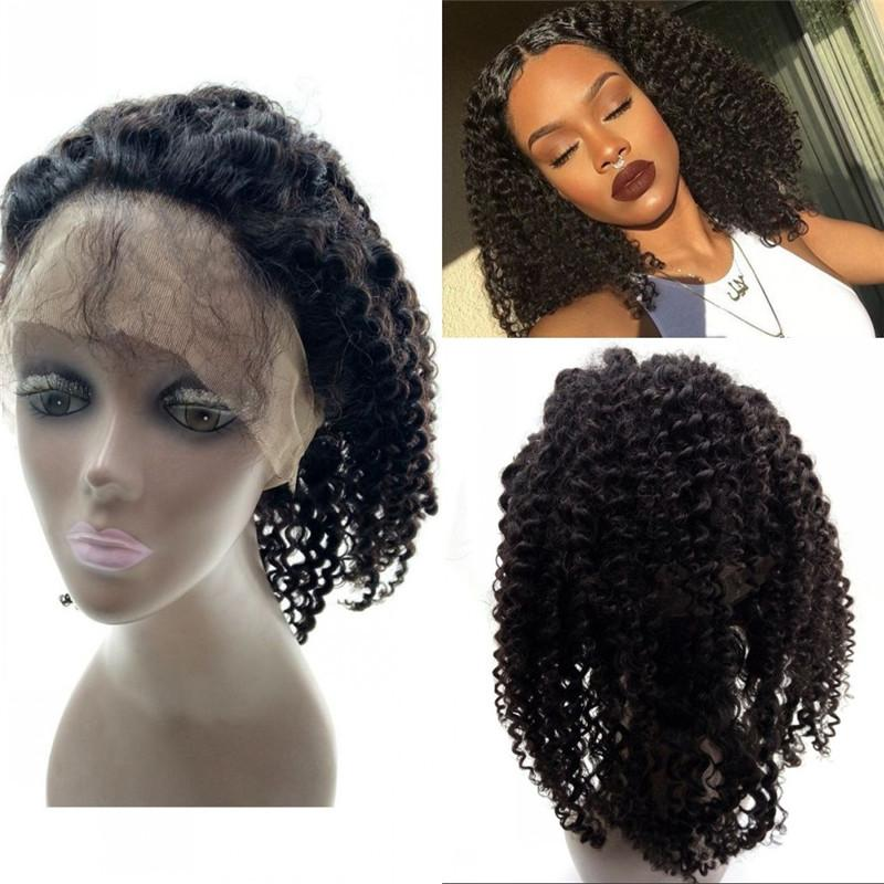 Afro kinky curly 360 lace frontal with baby hair Brazilian virgin hair swiss lace 360 frontal 130% density FDSHINE