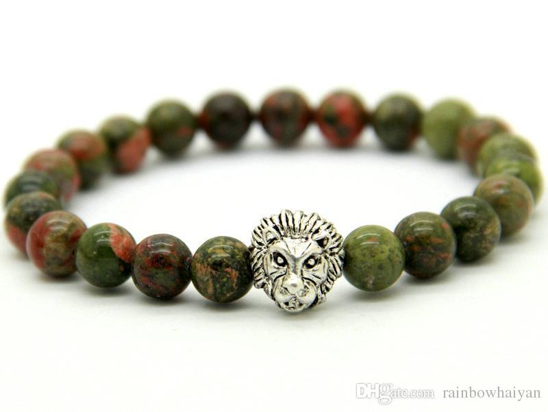 Venda quente de Jóias Por Atacado 8mm Unakite Pedra Beads Antique Prata Cabeça De Leão pulseira, Mens Beaded Pulseiras