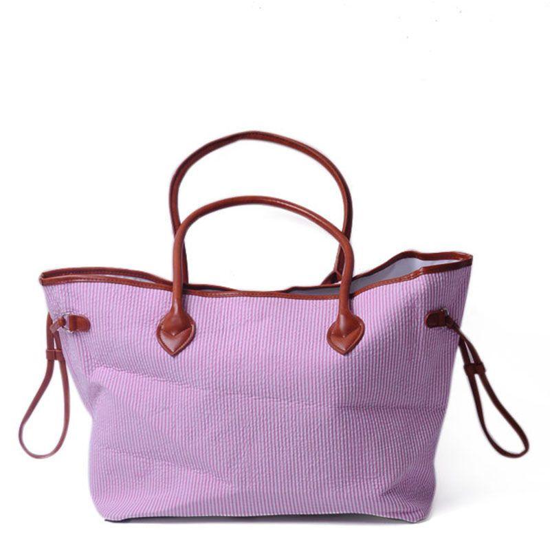 Seersucker Material Große Damen Handtasche Baumwollmode Einkaufstasche mit PU Kunstleder Griff und Haspelverschluss DOM103430