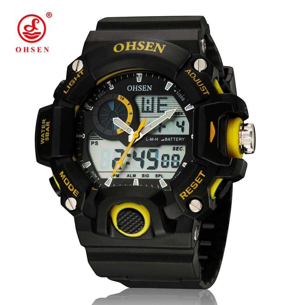 Dial Dial Mano Digital Deporte Digital Hombre Reloj Reloj Amarillo Marca Amarilla Diseño Clásico OHSEN 50M Reloj de moda impermeable Regalo para Horl SEMQ
