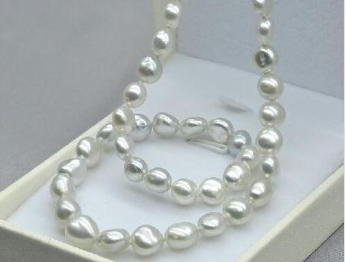 Vraie Fine Perles Bijoux 14 k baroque 11-13mm australien des mers du Sud blanc perle collier 18 pouces