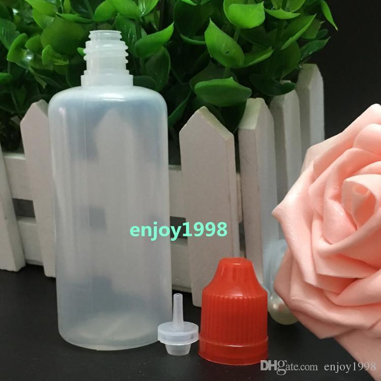 Botellas de plástico LDPE 60ML de agujas con tapón de seguridad a prueba de niños y la punta fina larga cuentagotas Para eJuice E-líquidos 800pcs envío libre / Lote