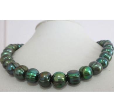 Herrliche 11-12mm Südsees Pfaugrün Perlenkette 20inch 925 Silber Verschluss