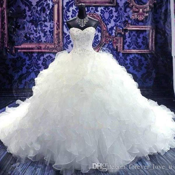 Beliebte Ballkleid Brautkleider Prinzessin Perlen Korsett Mieder Rüschen Rock Puffy Organza Brautkleider Lace-up Zurück mit Hofzug