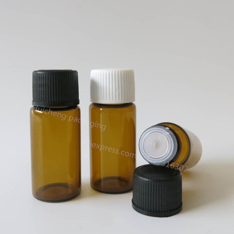 Flacons en verre à col ambre à visser de 500 x 10 ml avec couvercles noirs blancs