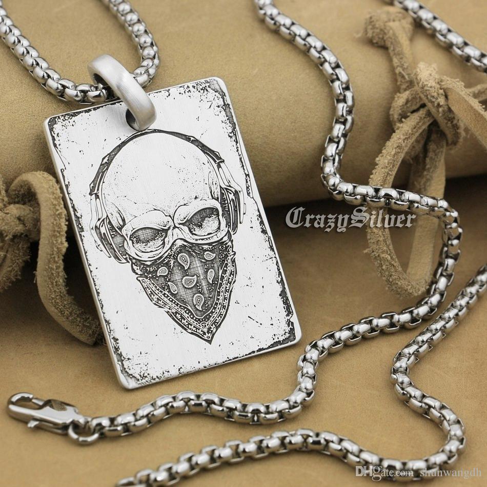 """Haute précision détail gravé personnalisable 925 Sterling Silver Skull Dog Tag Mens Biker Rocker Punk Pendentif 9X001 acier collier 24 """""""