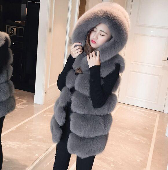 Novo casaco de inverno Brasão Faux prata de alta qualidade da pele de Fox com capuz Vest listra da forma de comprimento médio Vest Tamanho Grande Mulheres Outwear