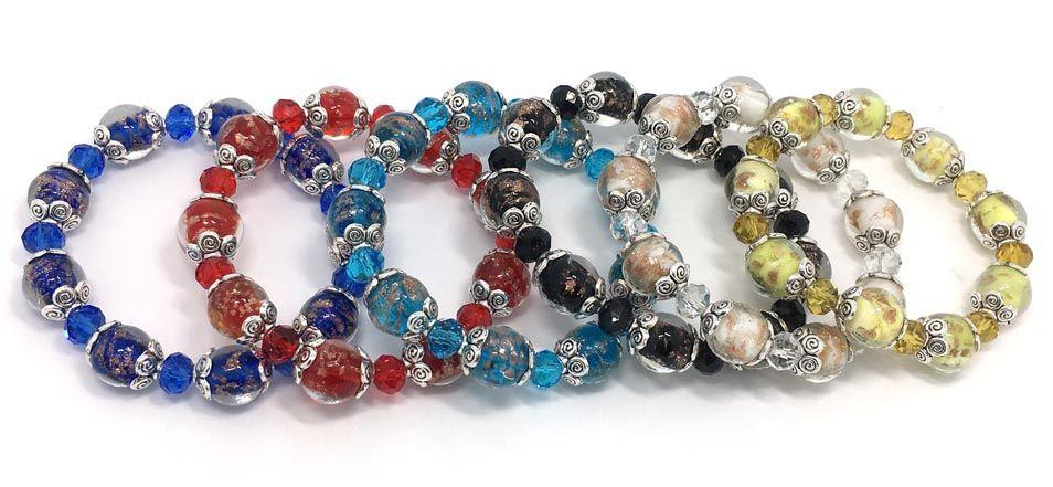 Yepyeni moda takı bilezikler 24 adet başına lot 6 renkler karışık cam ve kristal boncuk ayarlanabilir bilezikler drop shipping