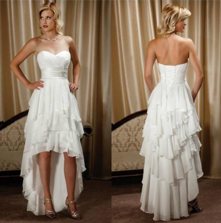 2019 (High) 저 (Low) 비치 웨딩 드레스 연인 등이없는 A 라인 계층 치마 쉬폰 하이 - 로우 매력적인 신부 드레스 Vestido 드 Noiva 저렴한