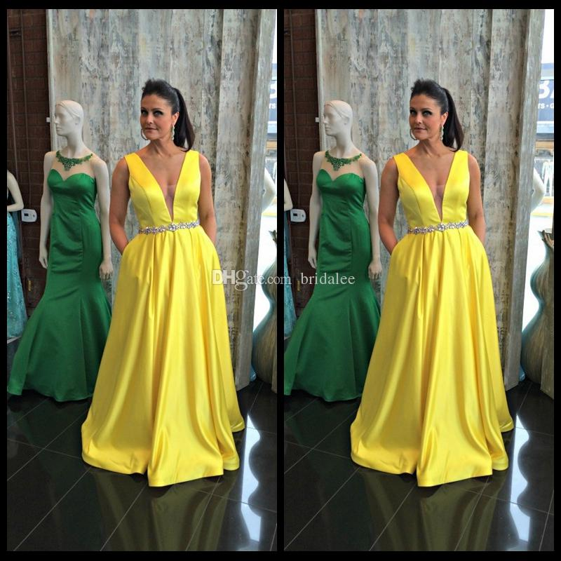 Abito da sera abendkleider lang sexy tiefem v-ausschnitt prom kleider gelb satin dress abendkleid für frauen formale party kleider