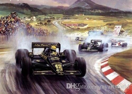 voiture de course du monde F1, peinture à l'huile de course véritable peinte à la main d'art sur la toile de qualité, dans la taille adaptée aux besoins du client acceptée