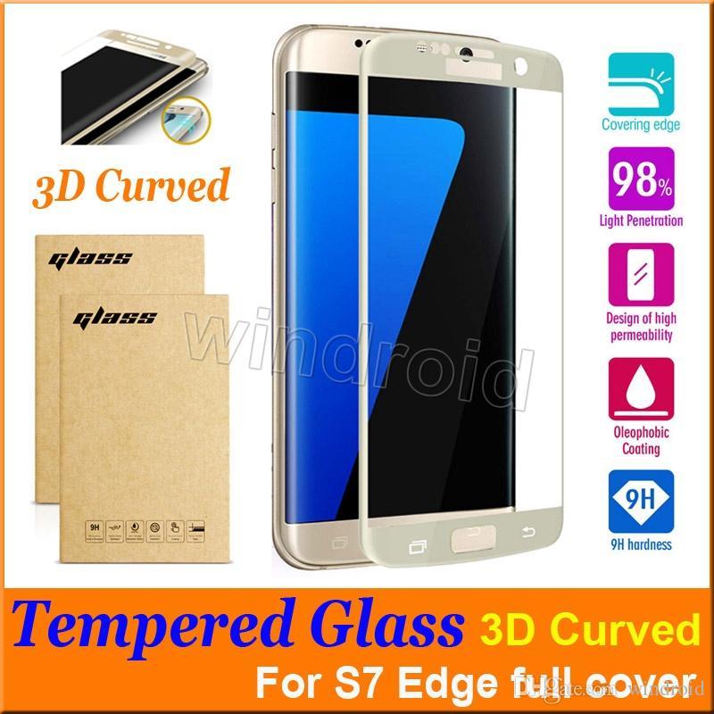 purchase cheap b51f1 42da5 0.2MM Samsung Galaxy S7 Edge S6 Edge Screen 3D Protector Tempered Glass  Full Cover Curved Glass 9H Hardness Screen Protector With Retail Box Best  ...