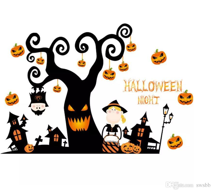 Halloween Wall Stickers Bedroom Living Room Pumpkin Lamp Photo
